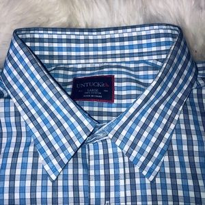 UNTUCKit Mens Button Up Shirt Blue Plaid
